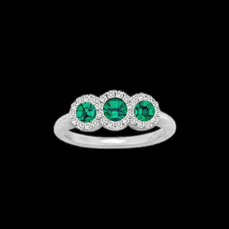 Spark Creations Three Stone Emerald & Diamond Ring