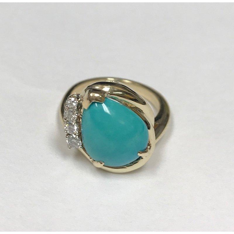 Antique, Estate & Consignment Turquoise & Diamond Ring