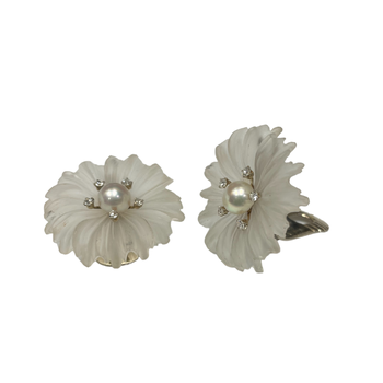Crystal Flower & Diamond Clip On  Earrings