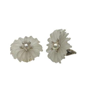 Crystal Flower & Diamond Clip On  Earrings