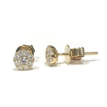 Cluster Diamond Studs Yellow Gold