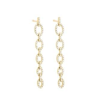 Diamond Link Drop Earrings