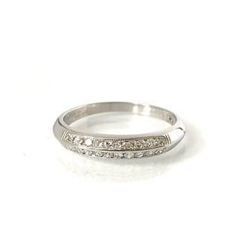 Platinum Double Row Single Cut Diamond Band