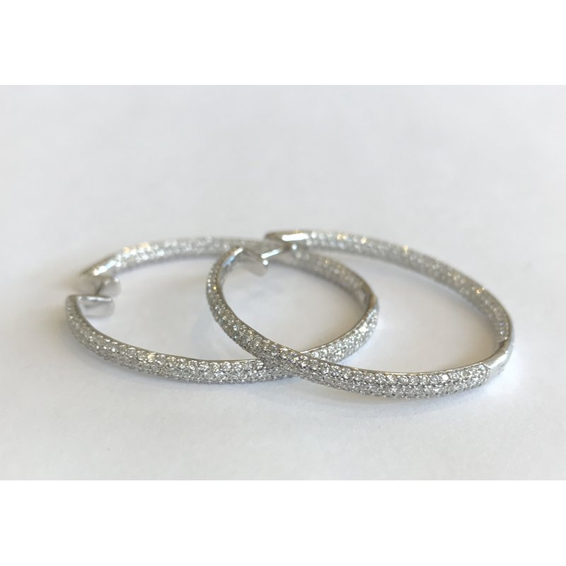 Hurdle's Jewelry Collection Diamond Pave Hoop Earrings