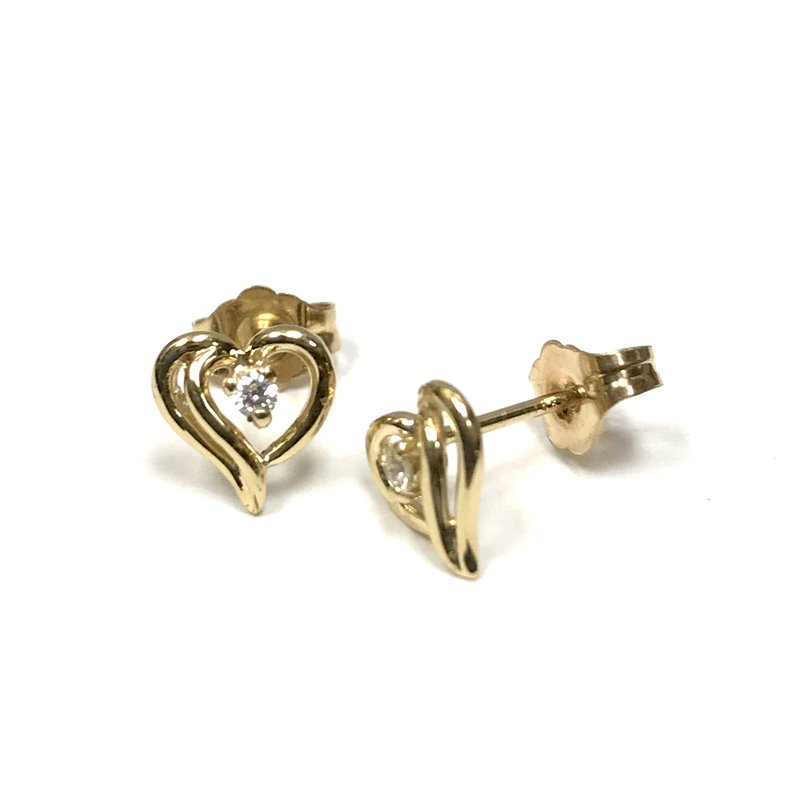 Hurdle's Jewelry Collection Diamond Heart Stud Earrings