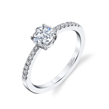 Rose Cut Diamond Ring - White Gold