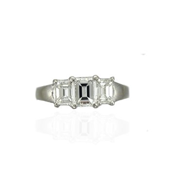 Platinum Sholdt Emerald Cut Three Stone Ring