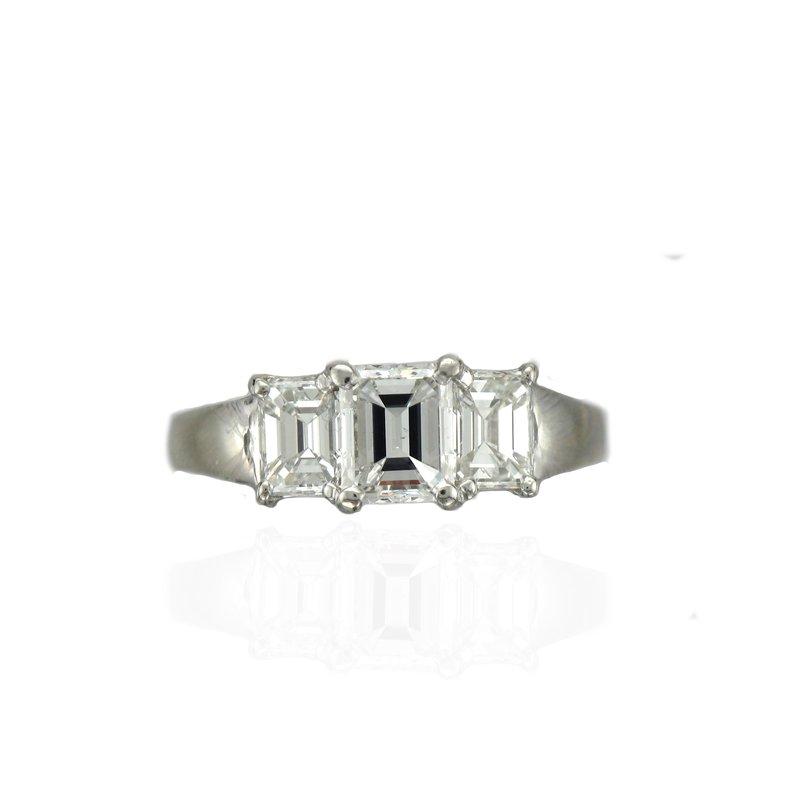 Antique, Estate & Consignment Platinum Sholdt Emerald Cut Three Stone Ring