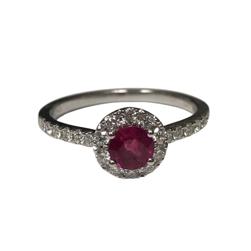 Antique, Estate & Consignment Ruby & Diamond Halo Ring