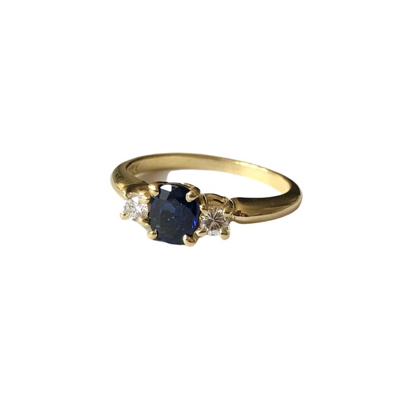 Antique, Estate & Consignment Three Stone Sapphire & Diamond Ring