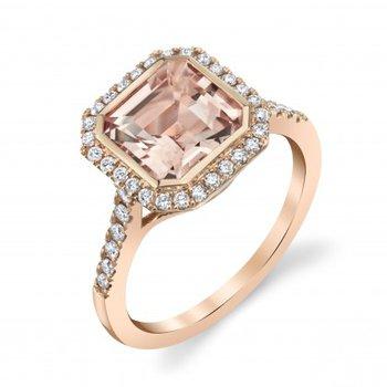 Morganite & Diamond Halo Ring