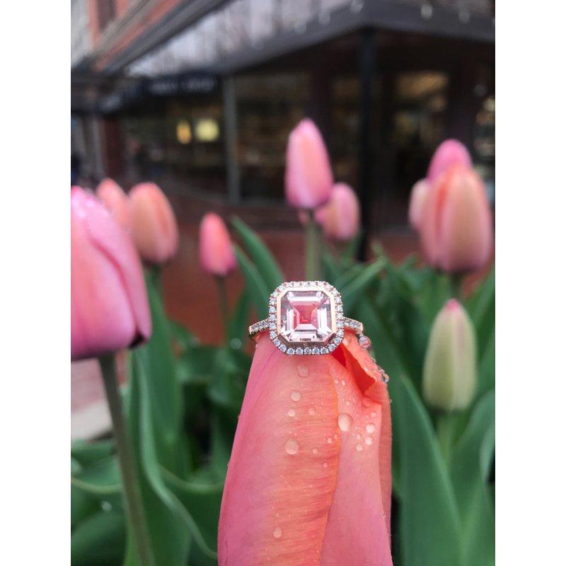 Stanton Color Morganite & Diamond Halo Ring