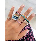 EF Collection 3 Diamond Turquoise Enamel Stack Ring