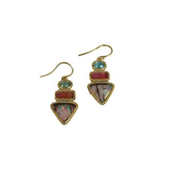 Boulder Opal, Blue Zircon & Tourmaline Earrings