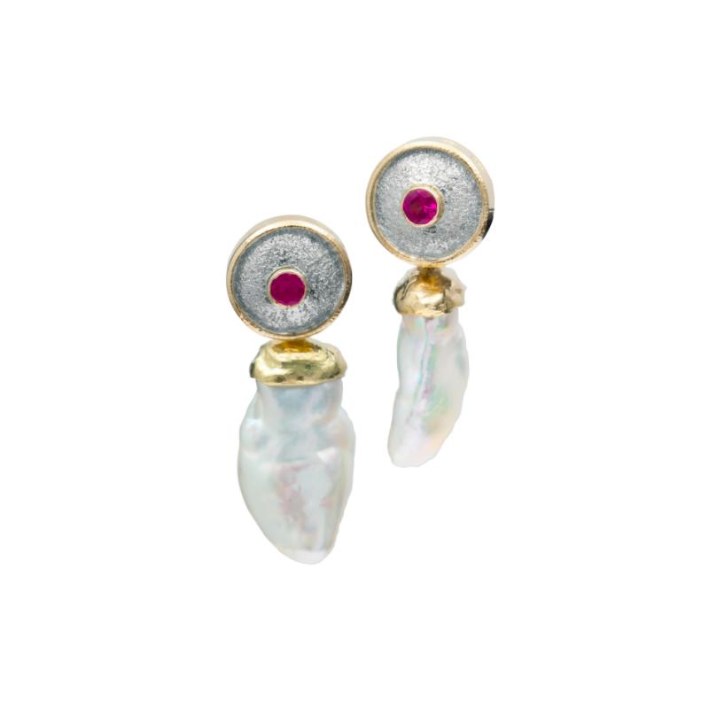 Richard Kimball Pearl & Pink Sapphire Earrings