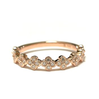 Diamond Floral Stacker Band - Rose Gold