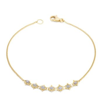 Petite Textile Bracelet in Silver Diamond