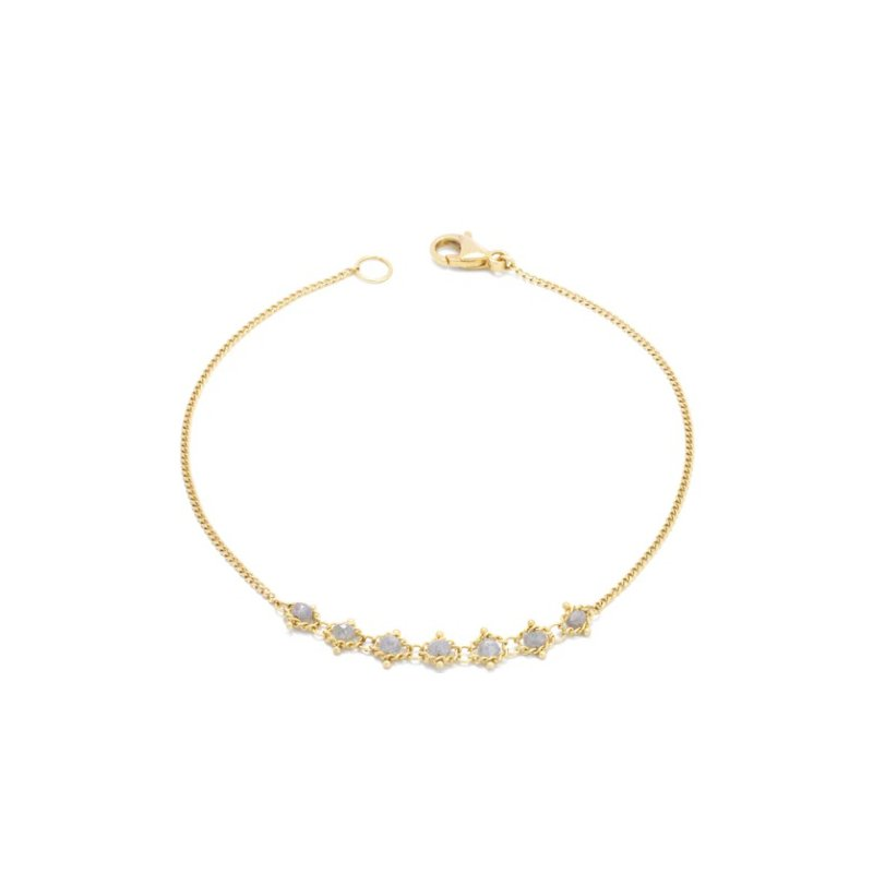 Amali Petite Textile Bracelet in Silver Diamond