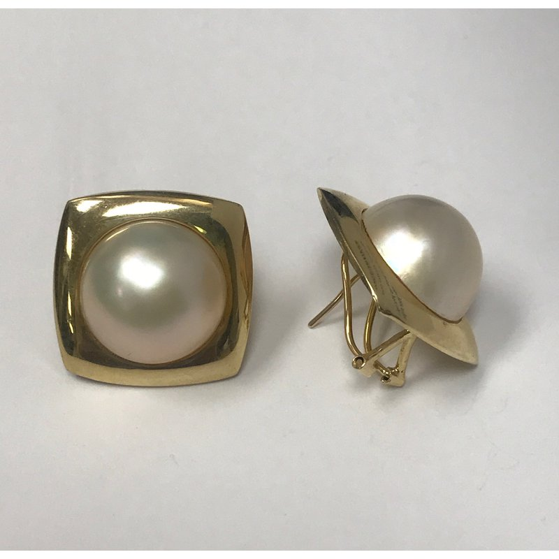 Antique, Estate & Consignment Gold Mabe Pearl Earrings
