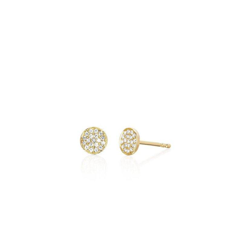 EF Collection Diamond Mini Disc Stud Earring