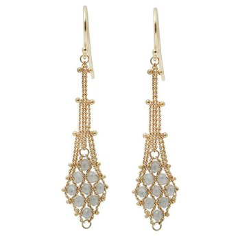 Silver Diamond Textile Earrings