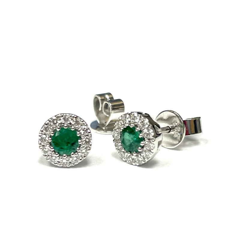 Hurdle's Jewelry Collection Emerald and Diamond Halo Stud Earrings