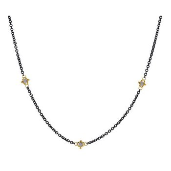 Textile Grey Diamond Station Necklace