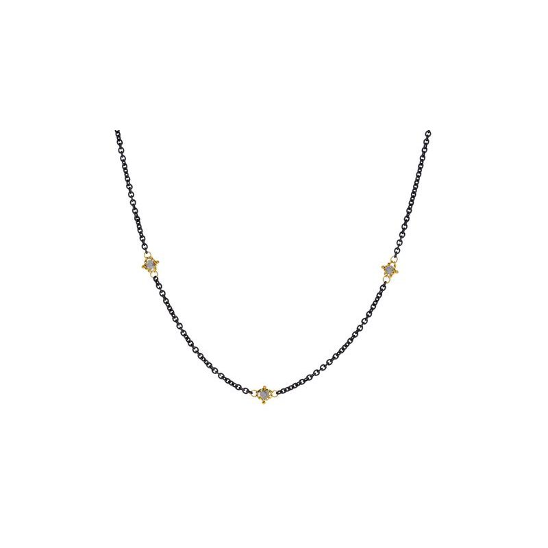 Amali Textile Grey Diamond Station Necklace
