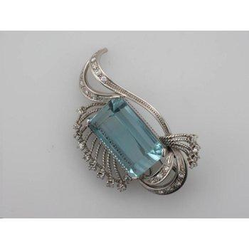 Aqua Antique Brooch/Pendant