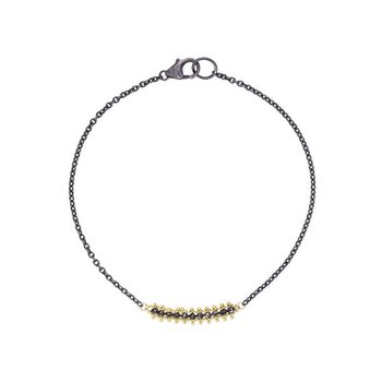 Textile Black Diamond Station Bracelet