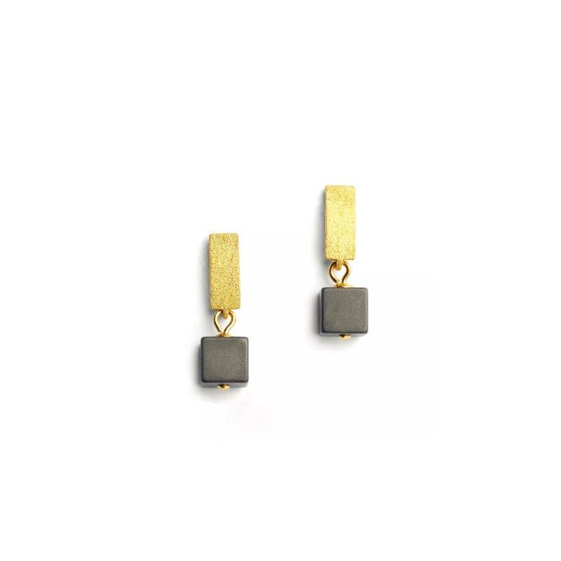 Bernd Wolf Cubelli Hematine Earrings