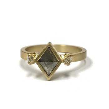 Kite Shaped Gray Diamond Ring