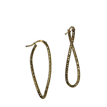 Elongated Twisted Hoop Earring