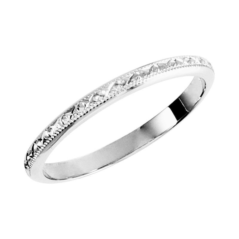 Hurdle's Jewelry Collection 14k White Gold Engraved Milgrain Band