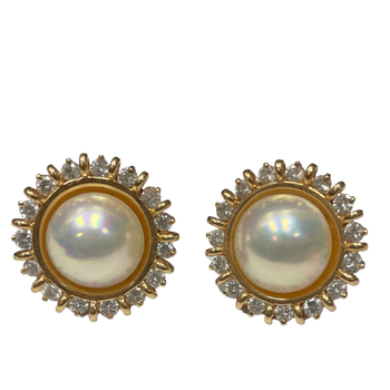 Diamond & Mabe Pearl Clip On Earrings
