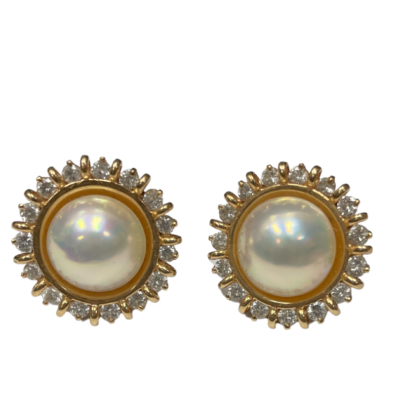 Antique, Estate & Consignment Diamond & Mabe Pearl Clip On Earrings