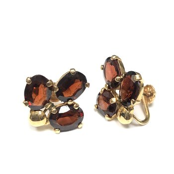 Non-Pierced Garnet Earrings