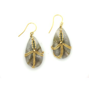 Rutilated Quartz Diamond Drape Earrings