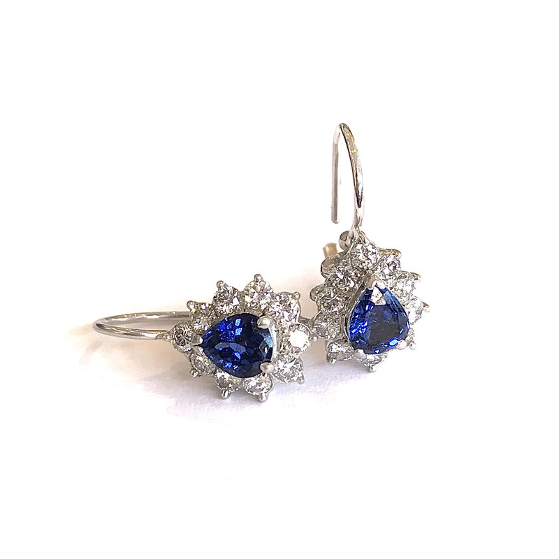 Hurdle's Jewelry Collection Diamond & Sapphire Pear Earrings