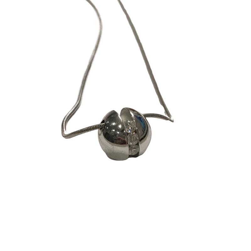 Antique, Estate & Consignment Diamond Ball Pendant & Snake Chain