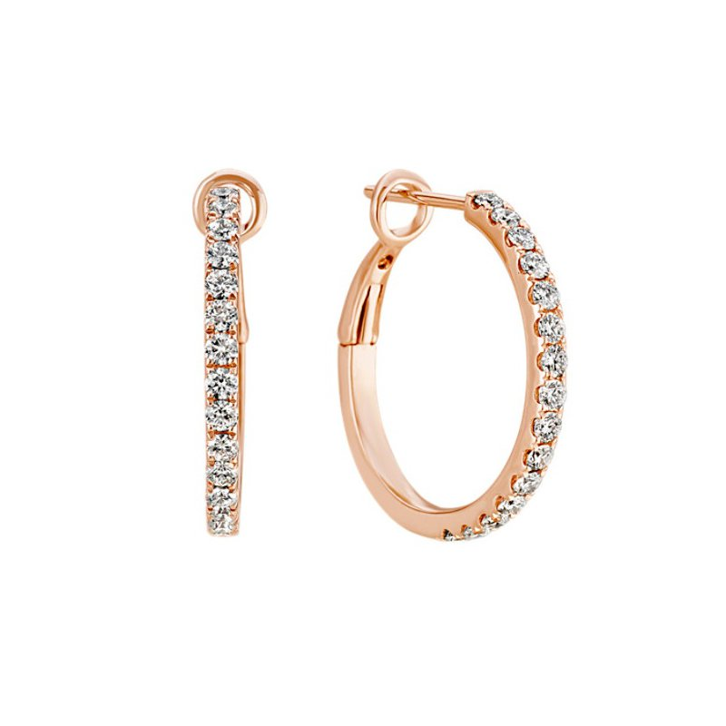 Hurdle's Jewelry Collection Rose Gold Diamond Hoop Earrings