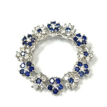 Diamond & Sapphire Circle Brooch/Pendant