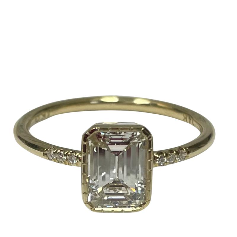 Jennie Kwon Emerald Diamond Equilibrium Engagement Ring