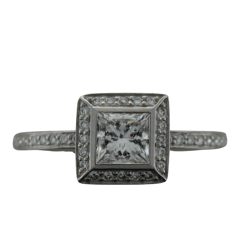 Hurdle's Jewelry Collection Platinum Halo Princess Cut Engagement Ring