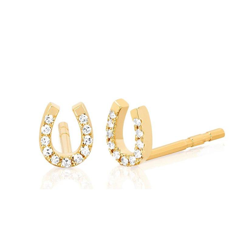 EF Collection Diamond Mini Horseshoe Stud Earring