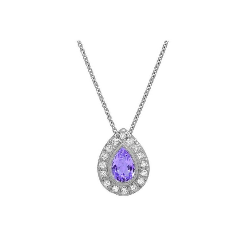 Beverley K Amethyst & Diamond Tear Drop Necklace