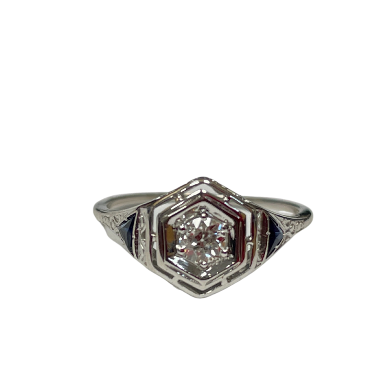 Antique, Estate & Consignment Diamond & Synthetic Sapphire Ring