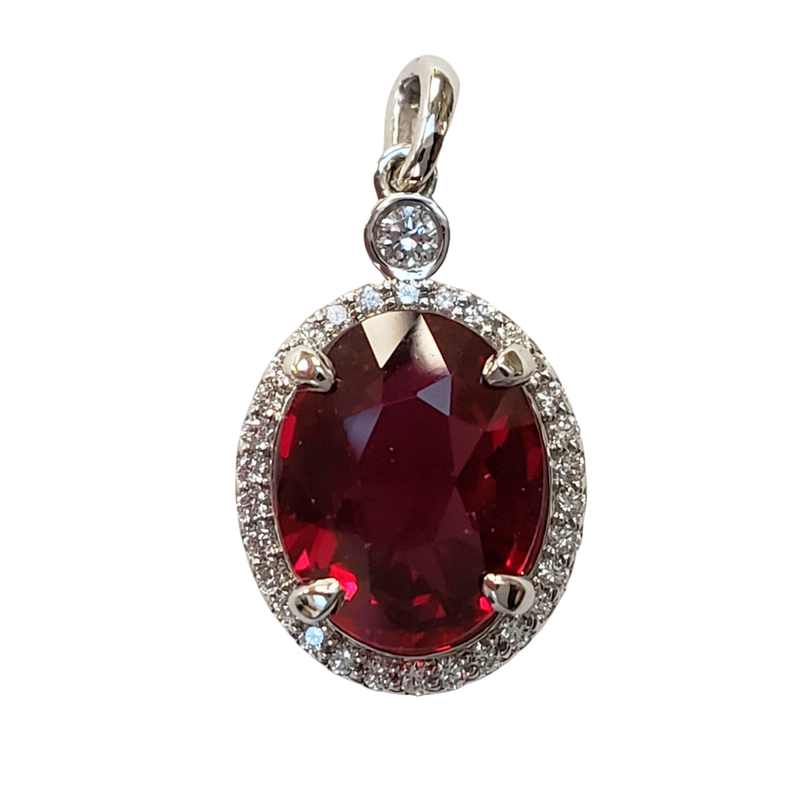 Hurdle's Jewelry Collection Pigeons Blood Ruby & Diamond Pendant