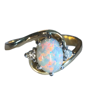 Opal & Diamond Bypass Ring