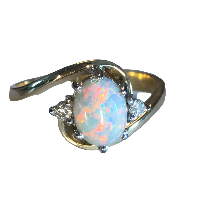 Antique, Estate & Consignment Opal & Diamond Bypass Ring